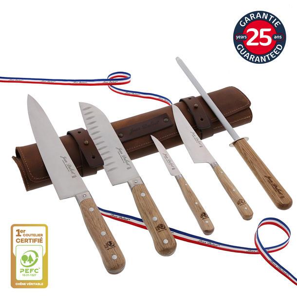 Sacoche cuir et couteaux de cuisine Jean Dubost gamme 1920, fabrication francaise, garantie 25 ans