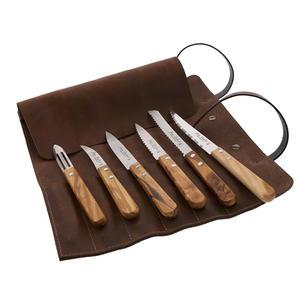 Sacoche à outils du cuisinier Jean Dubost, couteaux de cuisine tradition manche bois d'olivier fabrication française