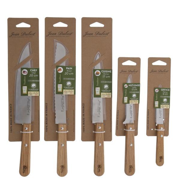 Couteaux de cuisine Jean Dubost gamme tradition manches ecoresponsables en chene certifie PEFC sur carte carton recyclé